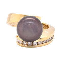 14 Karat Yellow Gold Tahitian Pearl and Diamond Bypass Ring