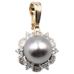 14 Karat Yellow Gold Tahitian Pearl and Diamond Pendant