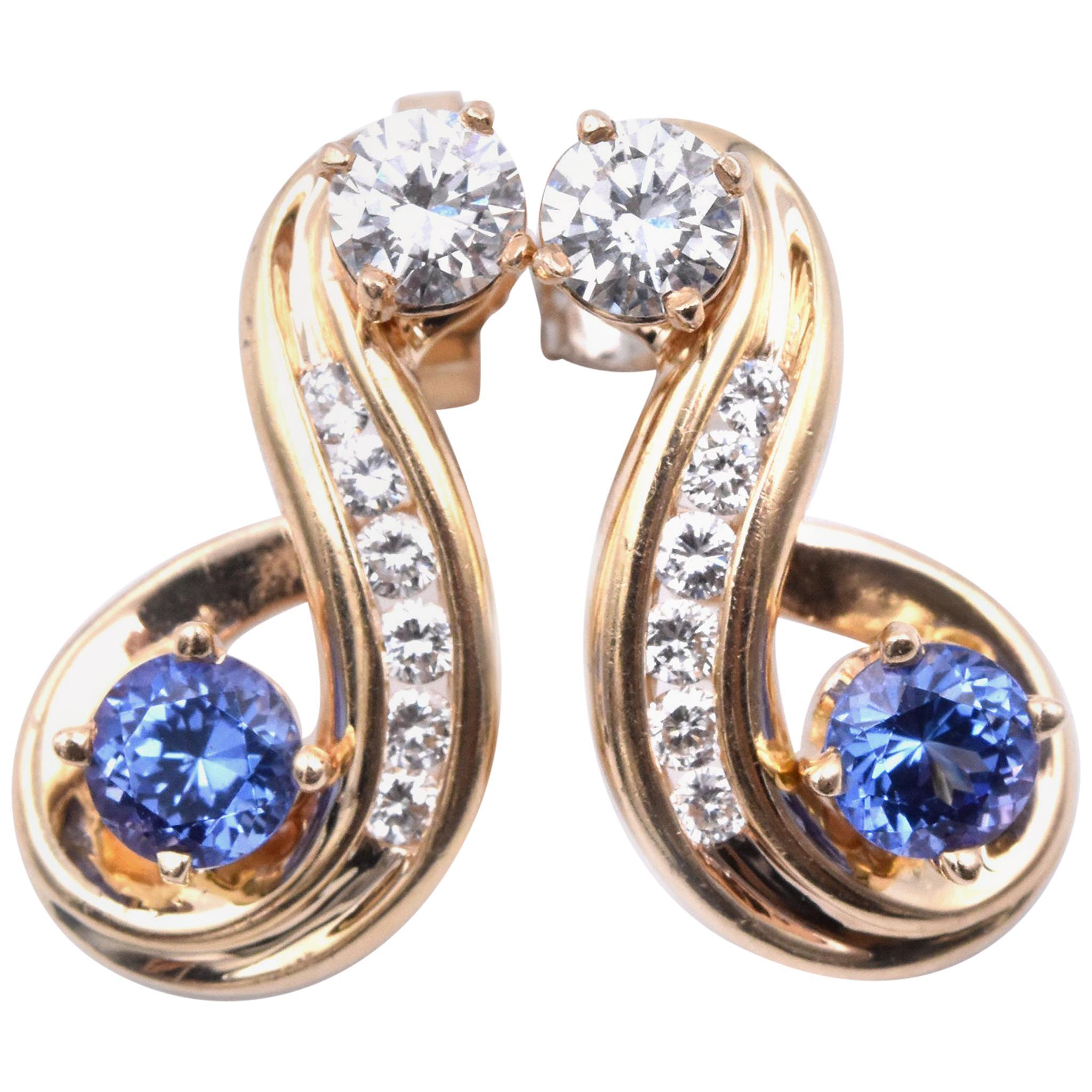 14 Karat Yellow Gold Tanzanite and Diamond Drop Earrings