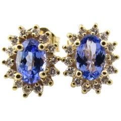 14 Karat Yellow Gold Tanzanite and Diamond Earrings