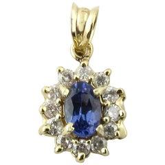 14 Karat Yellow Gold Tanzanite and Diamond Pendant
