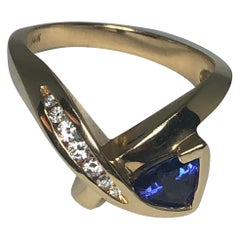 14 Karat Yellow Gold Tanzanite and Diamond Ring by Aurum