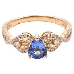14 Karat Yellow Gold Tanzanite and Diamond Ring