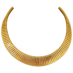 14 Karat Yellow Gold Tapered Tubogas Collar Necklace
