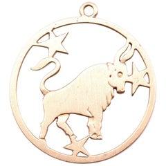 14 Karat Yellow Gold Taurus Zodiac Medallion Pendant 5.42 Grams