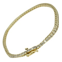 14 Karat Yellow Gold Tennis Bracelet 2.10 Carat Total Weight