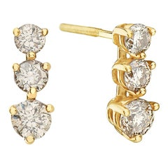 14 Karat Yellow Gold Three Diamond Earrings