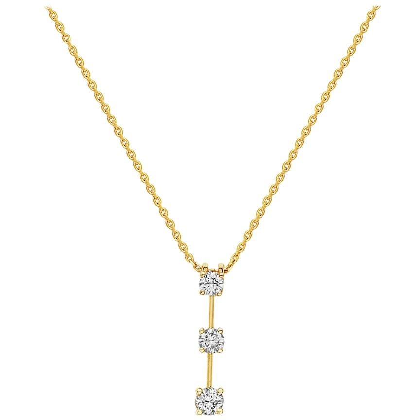 14 Karat Yellow Gold Three Diamond Pendant Necklace