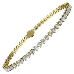 14 Karat Yellow Gold Three Prongs Diamond Tennis Bracelet '4 Carat'