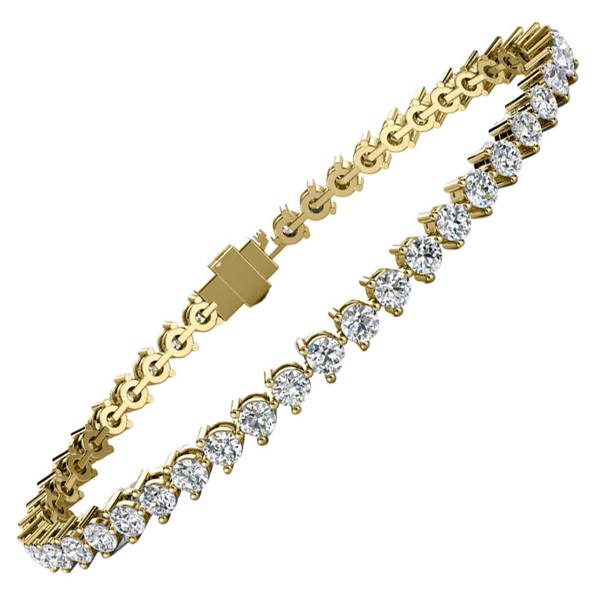 14 Karat Yellow Gold Three Prongs Diamond Tennis Bracelet '5 Carat'