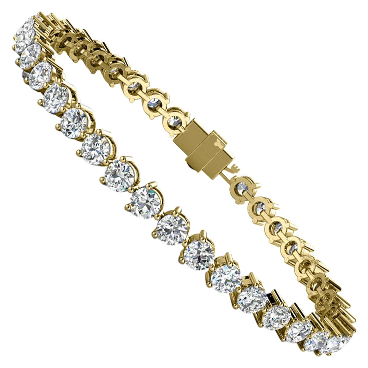 14 Karat Yellow Gold Three Prongs Diamond Tennis Bracelet '8 Carat'