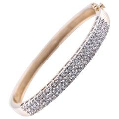 14 Karat Yellow Gold Three-Row Diamond Bangle Bracelet