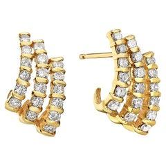 14 Karat Yellow Gold Three-Row Diamond Earrings