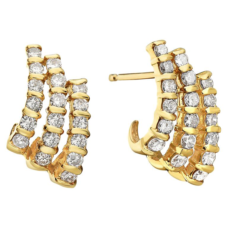 14 Karat Yellow Gold Three-Row Diamond Earrings For Sale