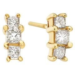 14 Karat Yellow Gold Three-Stone Princess Cut Studs