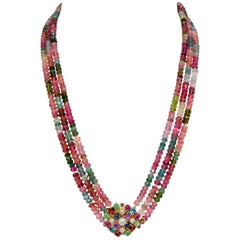 14 Karat Yellow Gold Three-Strand Multi Tourmaline and Gem Clasp Necklace
