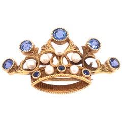 14 Karat Yellow Gold Tiara Crown Pin or Brooch, Pearls and Sapphire