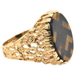 14 Karat Yellow Gold, Tigers Eye and Onyx Inlay Ring