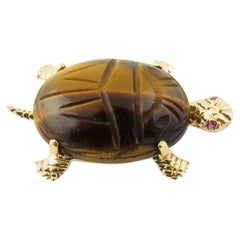 14 Karat Yellow Gold Tiger's Eye and Ruby Turtle Brooch or Pin