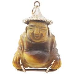 14 Karat Yellow Gold Tiger's Eye Buddha Pendant