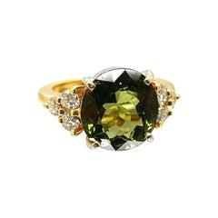 14 Karat Yellow Gold Tourmaline Diamond Ring