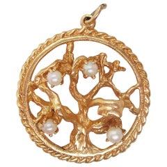 14 Karat Yellow Gold Tree of Life Seed Pearl Pendant