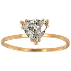 14 Karat Yellow Gold Trilion Salt and Pepper Diamond Ring 'Center -0.74 Carat'