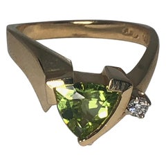 14 Karat Yellow Gold Trillion Cut Peridot and Diamond Ring by Aurum