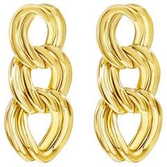 14 Karat Yellow Gold Triple Chain Dangle Earrings