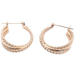 14 Karat Yellow Gold Triple Set Hoop Earrings