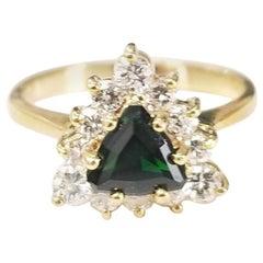 14 Karat Yellow Gold Tsavorite and Diamond Ring