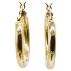 14 Karat Yellow Gold Tube Hoop Earrings in Stock