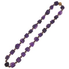 14 Karat Yellow Gold, Tumbled Amethyst and Faceted Amethyst Roundel Necklace