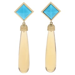 14 Karat Yellow Gold, Turquoise and Citrine Dangle Earrings