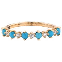 14 Karat Yellow Gold Turquoise and Diamond Band