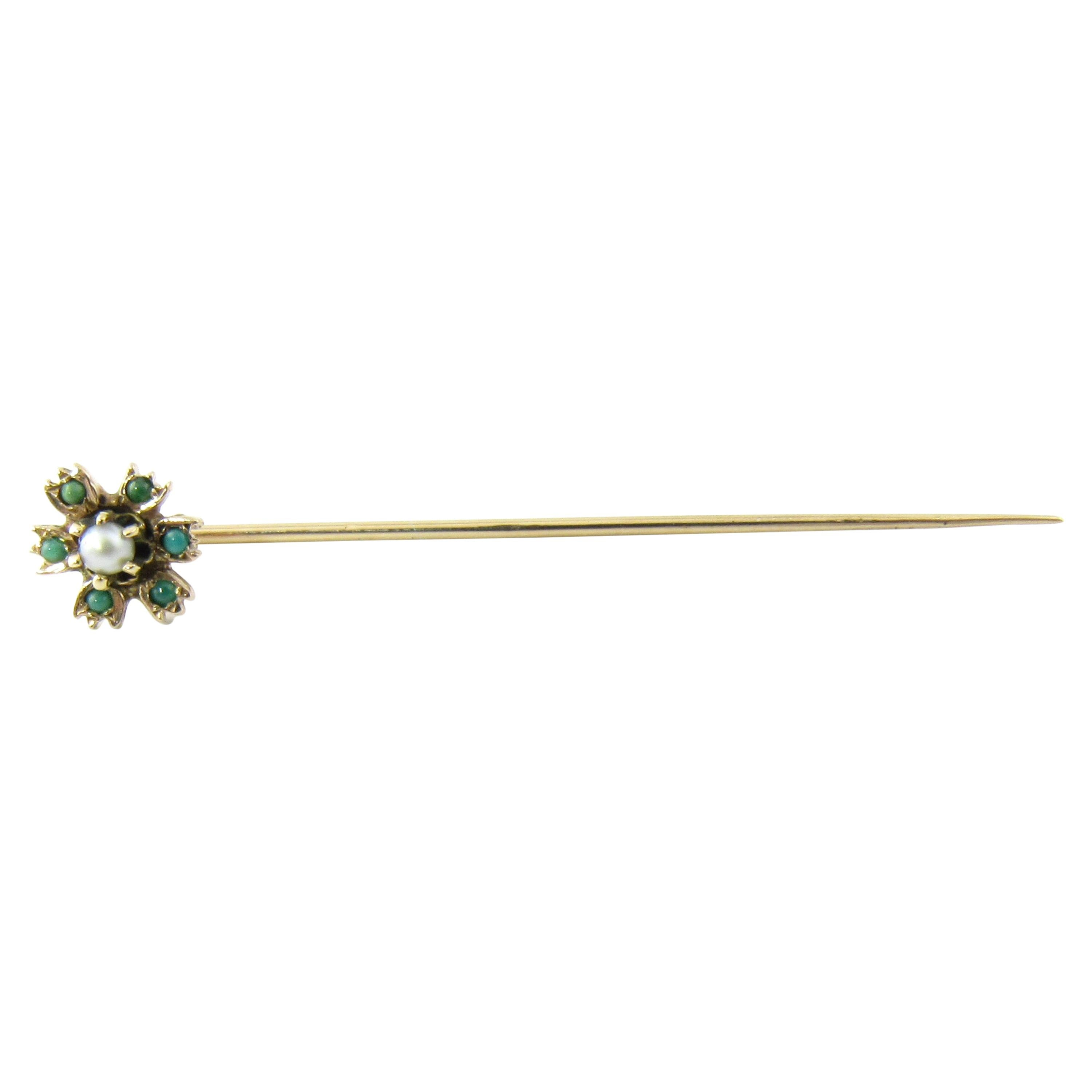 14 Karat Yellow Gold Turquoise and Seed Pearl Stick Pin