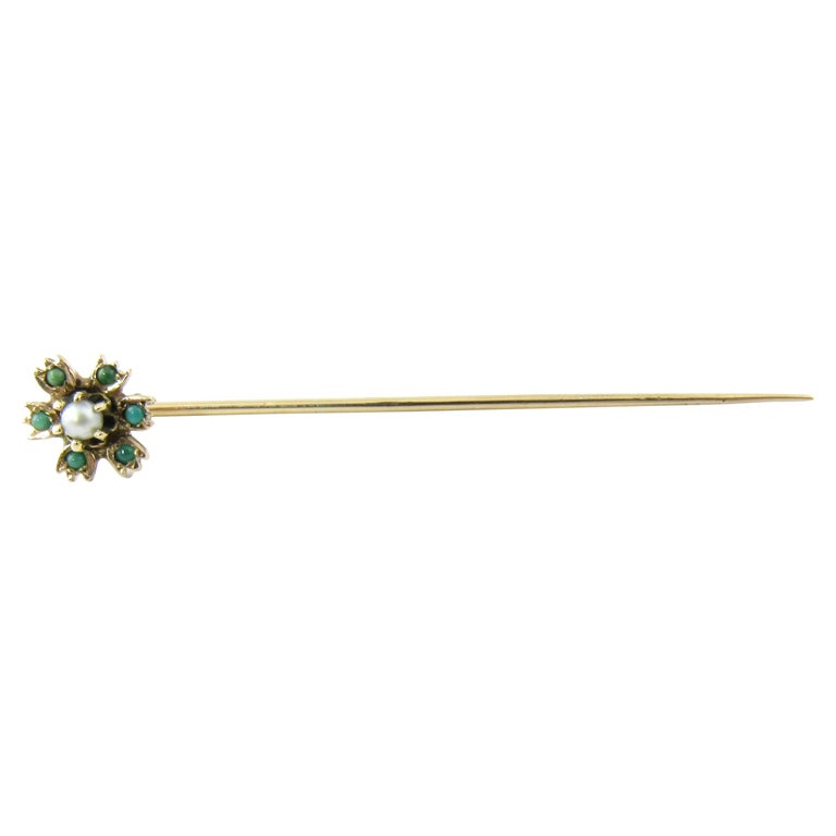 Antique 14K Yellow Gold Turquoise Seed Pearl Stick Pin
