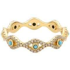 14 Karat Yellow Gold Turquoise Cabochon and Diamond Evil Eye Eternity Band