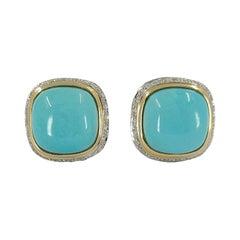 14 Karat Yellow Gold Turquoise & Diamond Earrings