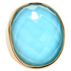 14 Karat Yellow Gold Turquoise Doublet Fashion Ring