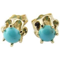 14 Karat Yellow Gold Turquoise Earrings