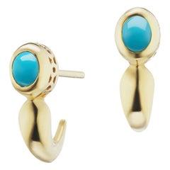 14 Karat Yellow Gold Turquoise Huggie Stud Earring
