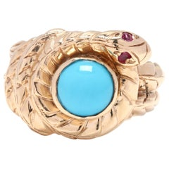 14 Karat Yellow Gold, Turquoise, Ruby Coiled Snake Ring