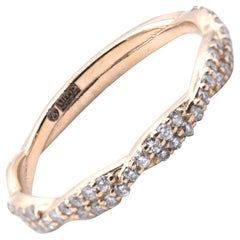 14 Karat Yellow Gold Twist Diamond Band