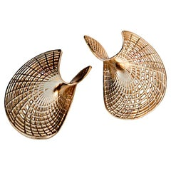 14 Karat Yellow Gold Unique Statement Earrings, Contemporary Large Earrings