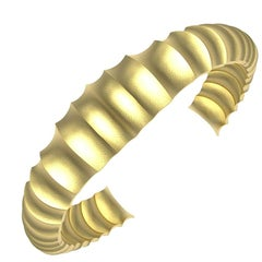 14 Karat Yellow Gold Unisex Concave Cuff Bracelet