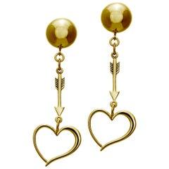 24 Karat Yellow Gold Vermeil Heart and Arrow Earrings