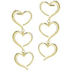 24 Karat Yellow Gold Vermeil Triple Heart Dangle Earrings