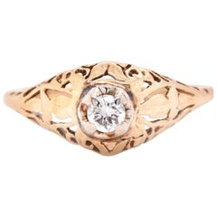 14 Karat Yellow Gold Art Deco Style Diamond Engagement Ring
