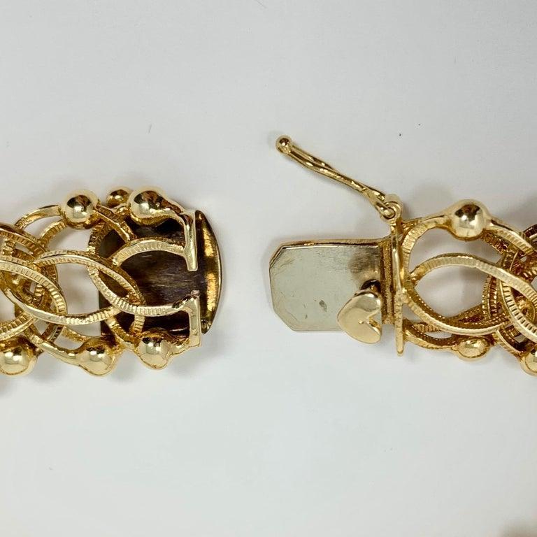 14 Karat Yellow Gold Vintage Bead Spiral Link Charm Bracelet 1
